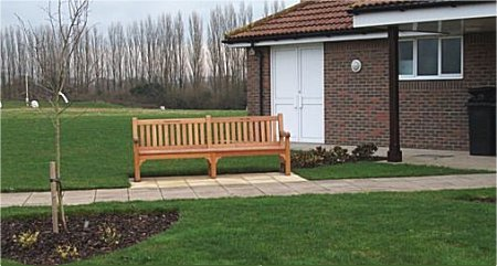Memorial seat at the Village Hall