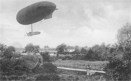Airship over Normandy Common c. 1913